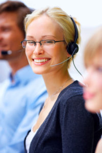 woman wearing headset